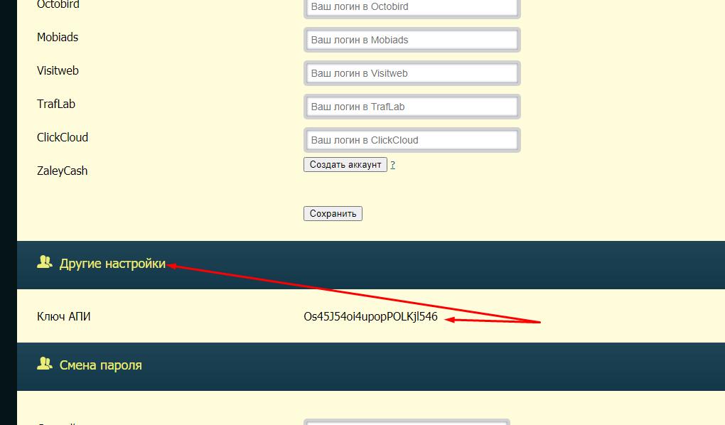 Ключ апи в профиле cpa.ru