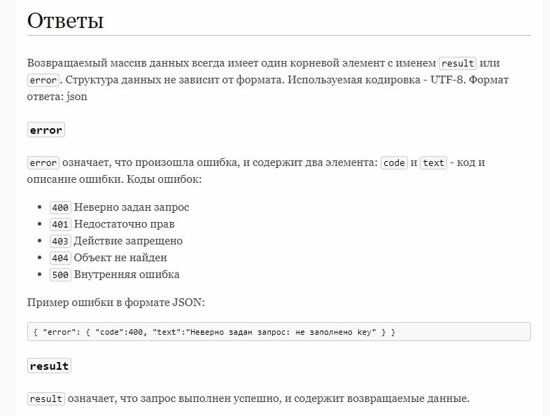 Ответы сервера ctr.ru об ошибке или успехе отправки лида
